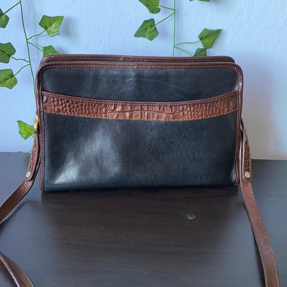 Brahmin black and brown leather purse